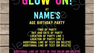 Neon Party Invitation Template Neon Glow Party Invitations Template Editable and Printable