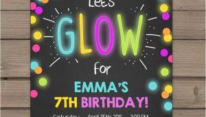 Neon Party Invites Neon Glow Party Invitation Glow Birthday Invitation Glow In