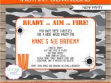 Nerf Gun Party Invitation Template Nerf Party Invitations Nerf Invitations Birthday Party