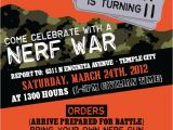 Nerf War Party Invitation Template Boys Camo Birthday Party or Nerf War by