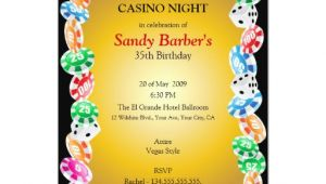 Night Party Invitation Template Casino Night Birthday Party Invitation Template Zazzle