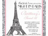Nightclub themed Party Invitations Night In Paris Glitter Sweet 16 Custom Invitation Night