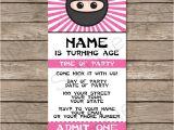 Ninja Party Invitation Template Pink Ninja Party Ticket Invitations Birthday Party