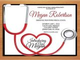 Nursing Graduation Party Invitations Card Stethoscope Nursing Medical Degree Graduation Party