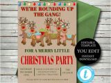 Office Party Invitation Template Editable Christmas Party Invitation Editable Invite Template