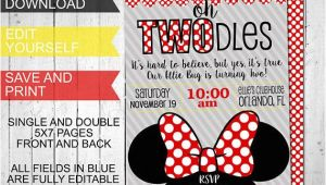 Oh Twodles Birthday Invitation Template Oh Twodles Invitations Minnie Mouse Inspired Birthday