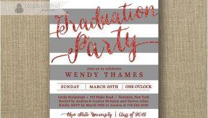 Ohio State Graduation Party Invitations Red Gray Graduation Party Invitation Glitter Stripes