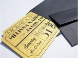 Old Hollywood themed Wedding Invitations Old Hollywood Art Deco Gold Movie Ticket Wedding Invitation