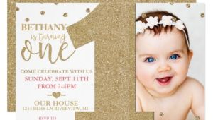 One Year Birthday Invitation Template First Birthday Faux Gold Glitter Pink Invitation
