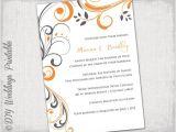 Orange and Gray Wedding Invitations Printable Wedding Invitation Template orange and Gray