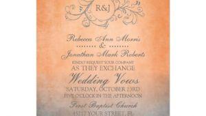 Orange and Gray Wedding Invitations Rustic orange and Grey Bohemian Wedding Invitation