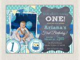 Owl 1st Birthday Invitations Boys Blue Owl 1st Birthday Invitation Printable Download