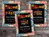Paella Party Invitations Fiesta Invitation Sangria and Tapas Invitation Spanish