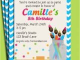 Paint Party Invitation Ideas Painting Art Party Birthday Invitation Printable or Printed