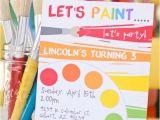 Paint Party Invitation Ideas Rainbow Art Paint Party Printable Birthday by