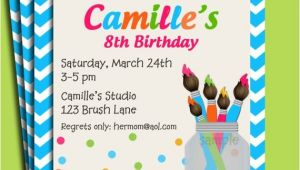 Painting Party Invitations Free Printable Painting Art Party Birthday Invitation Printable or Printed