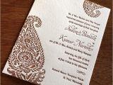 Paisley Wedding Invitation Template Indian Paisley Letterpress Wedding Card Indira Ajalon