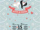 Paisley Wedding Invitation Template Vintage Wedding Invitation with Paisley Border Cartoon