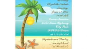 Palm Tree Bridal Shower Invitations Palm Tree Starfish Beach Wedding Bridal Shower 5×7 Paper