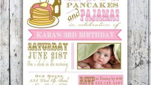 Pancake and Pajama Birthday Party Invitations Pancakes and Pajamas Party Invitation Photo Card Printable