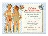 Paper Dolls Wedding Invitations Vintage Paper Dolls Wedding Shower Invites Blue Zazzle