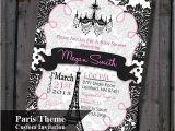 Paris themed Baby Shower Invites Paris Baby Shower Invitation Pink and Black Eiffel tower