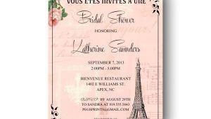 Parisian themed Bridal Shower Invitations Paris Bridal Shower Invitation Printable Paris themed