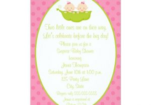 Party City Twin Baby Shower Invitations Two Peas Twin Girls Baby Shower Invitation