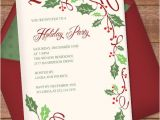 Party Invitation Border Templates Christmas Invitation Template with Holly Border Design