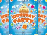 Party Invitation Card Template Psd Kids Birthday Invitation Card A5 Psd Template