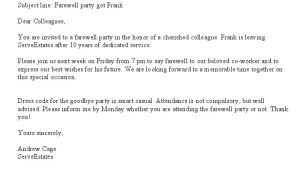 Party Invitation Email to Colleagues Farewell Party Invitation Email Cimvitation