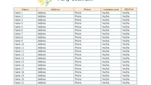 Party Invitation List Template Party Guest List