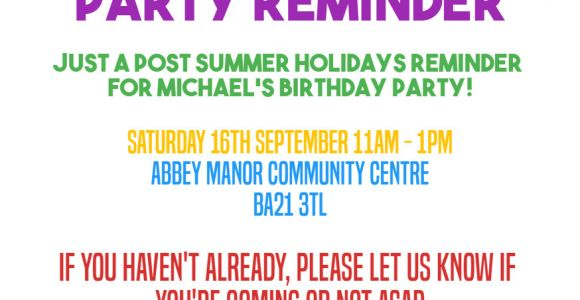 Party Invitation Reminder Template Reminder Invitation for Party