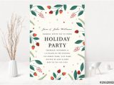 Party Invitation Template Adobe Graphic Floral Holiday Party Invitation Layout Buy This
