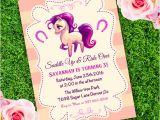 Party Invitation Template Adobe Horse Western Birthday Girl Invitation Template Edit