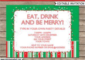 Party Invitation Template Editable Christmas Party Invitations Template Holiday Party