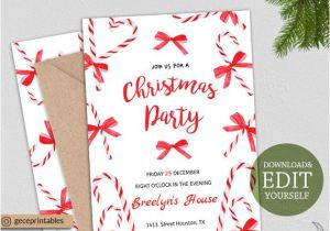Party Invitation Template Editable Editable Christmas Party Invitation Instant Download