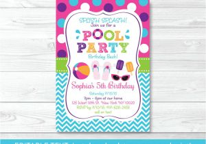 Party Invitation Template Editable Girls Pool Party Printable Birthday Invitation Editable
