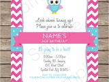 Party Invitation Template Editable Owl Party Invitations Pink Birthday Party Template