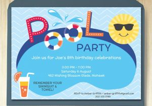Party Invitation Template Editable Pool Party Invitation Card Editable Template Party Printable