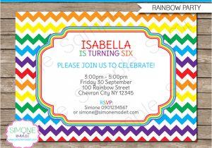 Party Invitation Template Editable Rainbow Party Invitations Template Birthday Party