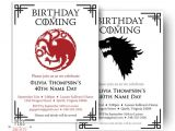 Party Invitation Template Game Of Thrones Dragon Birthday Invitation Wolf Birthday Invitation Game