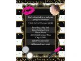 Party Invitation Template Mac Makeup Party Gold Confetti Stripes Glamour Invitation