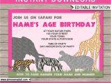 Party Invitation Template Mac Safari or Zoo Party Invitations Template Pink Birthday Party