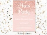 Party Invitation Template Rose Gold Hens Party Invitation Rose Gold Hens Invite Editable