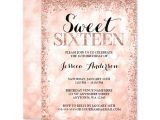 Party Invitation Template Rose Gold Rose Gold Faux Glitter Lights Sweet 16 Invitations Print