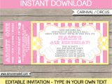 Party Invitation Ticket Template Carnival Birthday Ticket Invitations Template Carnival