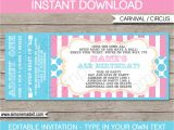 Party Invitation Ticket Template Pink Circus Party Ticket Invitation Template Circus Party