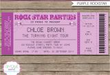 Party Invitation Ticket Template Rock Star Party Ticket Invitations Template Purple