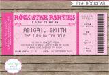 Party Invitation Ticket Template Rockstar Birthday Party Ticket Invitations Template Pink